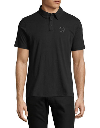 Armani Exchange Textured Bottom Short-Sleeve Polo-BLACK-Small 89815321_BLACK_Small