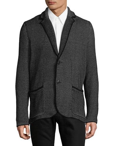 Armani Exchange Notch Lapel Cotton Blazer-BLACK-X-Large