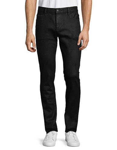 Armani Exchange Extra Slim-Fit Coated Distressed Jeans-BLACK-32