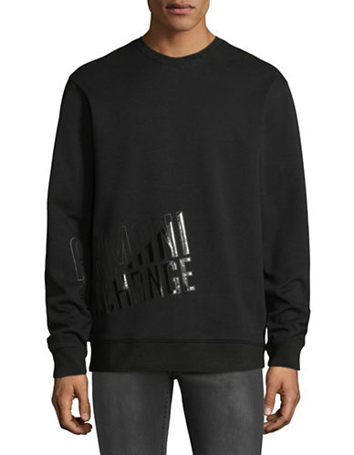 Armani Exchange Crew Neck Fleece Sweatshirt-BLACK-Large
