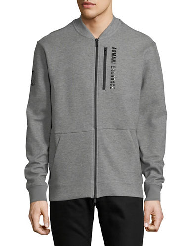 Armani Exchange Zip Fleece Bomber Jacket-GREY-X-Large