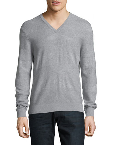 Armani Exchange V-Neck Jacquard Cotton Sweatshirt-GREY-Large 89815158_GREY_Large