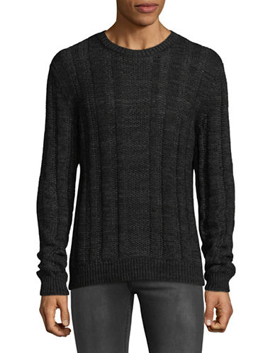 Armani Exchange Crew Neck Cable-Knit Sweater-BLACK-Medium