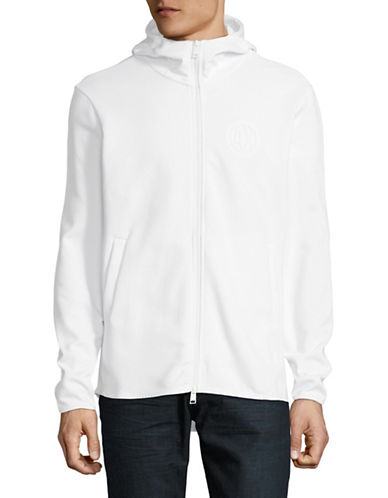Armani Exchange Logo Fleece Hoodie-WHITE-X-Large
