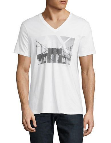 Armani Exchange Cityscape V-Neck Cotton Tee-WHITE-Small