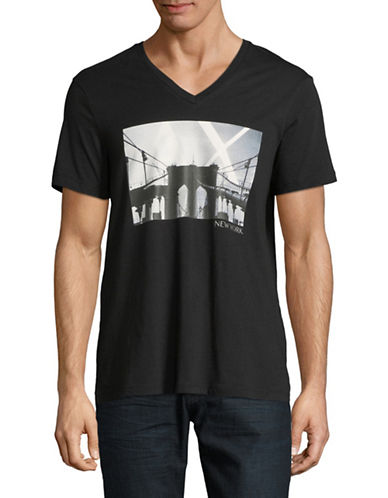 Armani Exchange Cityscape V-Neck Cotton Tee-BLACK-Small