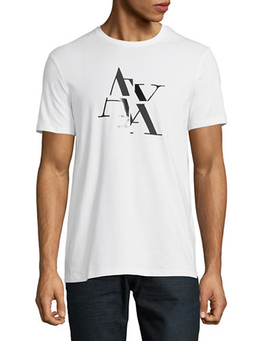 Armani Exchange Short-Sleeve Crew Neck Tee-WHITE-Small