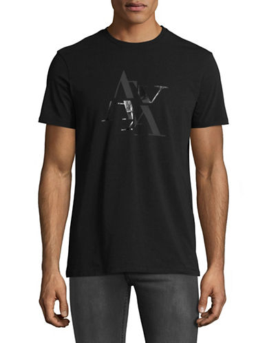 Armani Exchange Short-Sleeve Crew Neck Tee-BLACK-Small