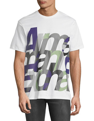 Armani Exchange Short-Sleeve Crew Neck Logo Tee-WHITE-X-Large
