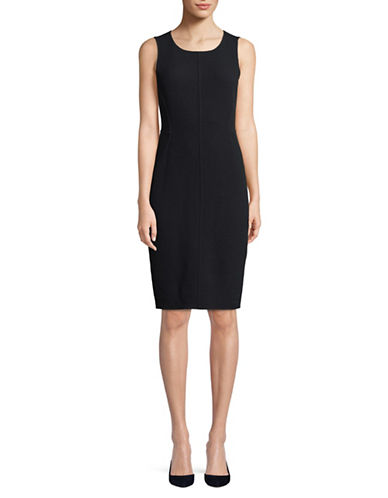 Emporio Armani Sleeveless Wool Sheath Dress-NAVY-16