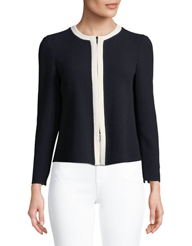 Emporio Armani Crew Neck Wool Short Jacket-NAVY/WHITE-EUR 38/US 2