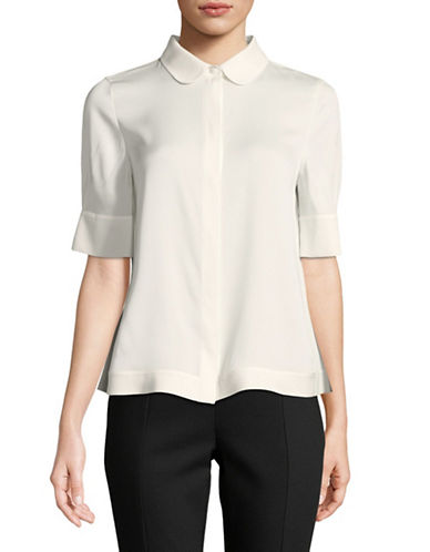 Emporio Armani Silk-Blend Short-Sleeve Blouse-IVORY-EUR 42/US 6