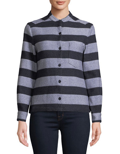 Emporio Armani Long-Sleeve Striped Button-Down Shirt-NAVY-EUR 40/US 4