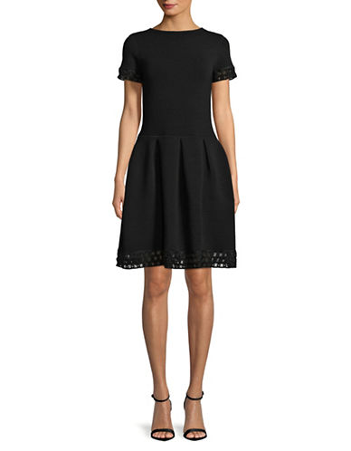 Emporio Armani Ribbed Lattice Trimmed Dress-BLACK-EUR 40/US 4
