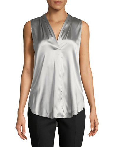 Emporio Armani Silk-Blend Stretch Top-GREY-EUR 46/US 10