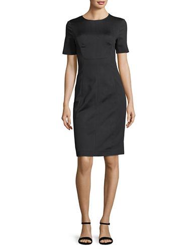 Emporio Armani Double Satin Sheath Dress-NAVY-EUR 40/US 4