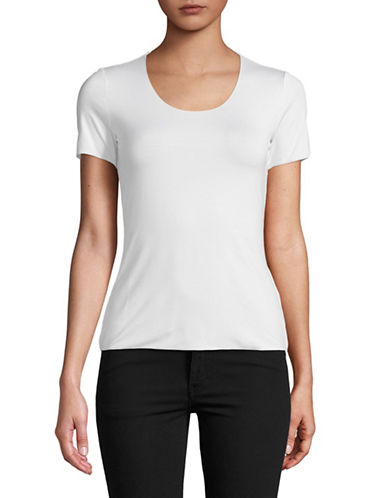 Emporio Armani Scoop Neck Jersey Tee-WHITE-EUR 40/US 4