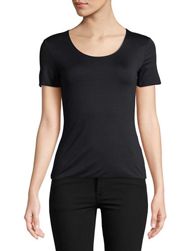 Emporio Armani Scoop Neck Jersey Tee-NAVY-EUR 42/US 6