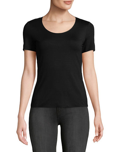 Emporio Armani Scoop Neck Jersey Tee-BLACK-EUR 42/US 6