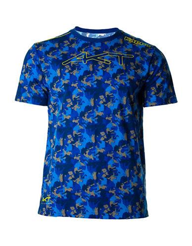 Kappa Camouflage Print Short Sleeve T-Shirt-BLUE CAMO-X-Large
