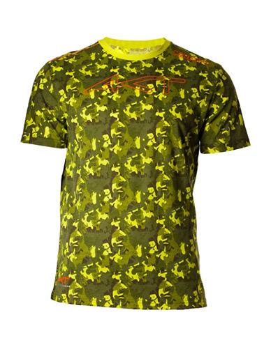 Kappa Camouflage Print Short Sleeve T-Shirt-LIME CAMO-Medium