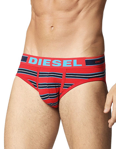 Diesel Jack Striped Brief-RED-Medium