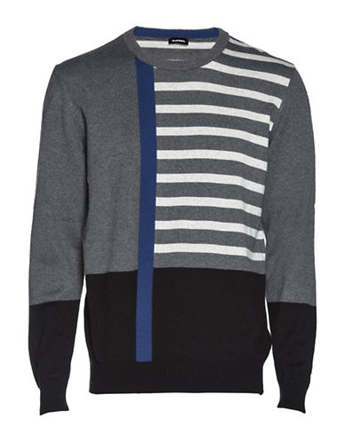 Diesel K-Stripy Cotton Sweater-BLACK-Small