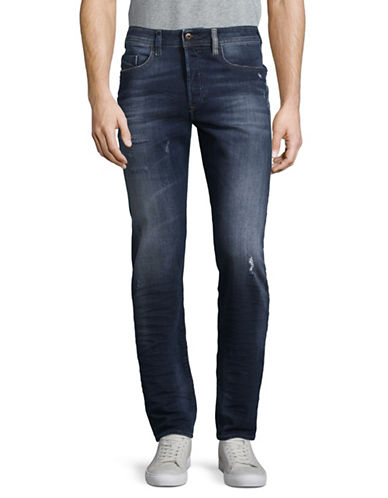 Diesel Distressed Tapered-Fit Jeans-BLUE-28X32