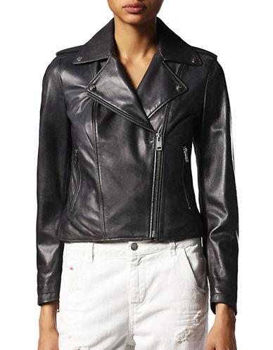 Diesel L-Revi-A Leather Cropped Jacket-BLACK-Large
