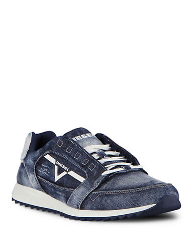 Diesel Mens S-Fleett Cotton Athletic Sneakers-BLUE-11