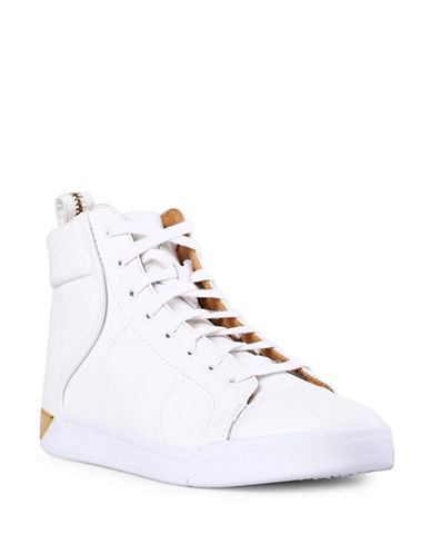 Diesel Marquise Leather High-Top Sneakers-WHITE-9.5