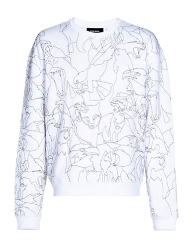 Diesel Pond Animal Emrboidered Sweatshirt-WHITE-XLarge