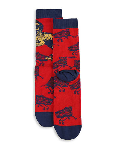Diesel SKM-Ray Dinosaur Socks-RED-Large