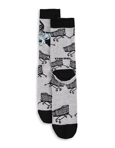 Diesel SKM-Ray Dinosaur Socks-GREY-Large