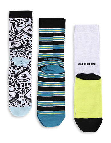 Diesel Three-Pack SKM-Ray Print and Stripes Socks-GREY-Large