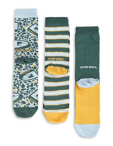 Diesel Three-Pack SKM-Ray Print and Stripes Socks-GREEN-Large