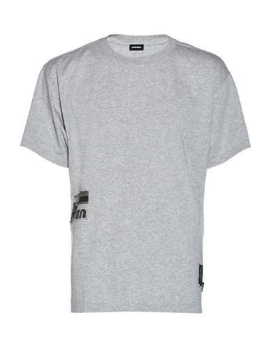 Diesel T-Wallace-Rb Cotton T-Shirt-GREY-Large