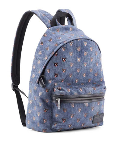 Diesel Easy Cat-Print Denim Backpack-BLUE-One Size