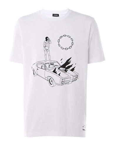 Diesel Graphic Cotton Tee-WHITE-Medium 89763362_WHITE_Medium
