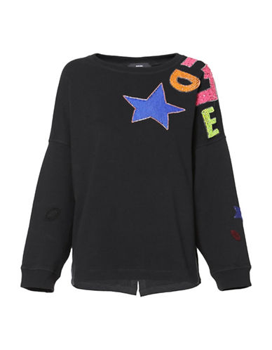 Diesel F-Gertrude Sequin Sweatshirt-BLACK-Small