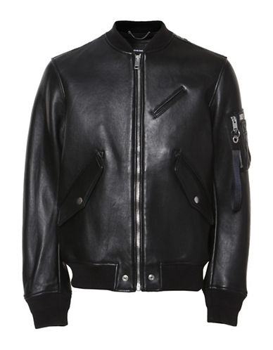Diesel L-Wildfire Leather Bomber Jacket-BLACK-XXLarge