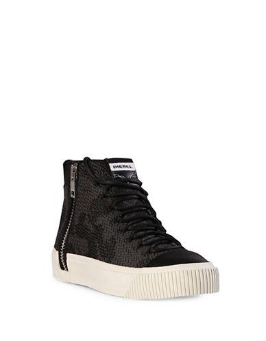 Diesel S-Quest Knit High Top Sneakers-BLACK-10