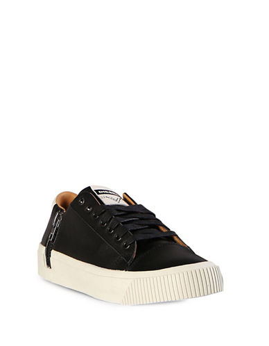 Diesel Voyage Lace-Up Leather Sneakers-BLACK-8.5