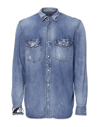Diesel D-Rookie Denim Sport Shirt-BLUE-XLarge