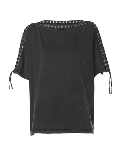 Diesel T-Leox Cotton Lace-Up Top-BLACK-Small
