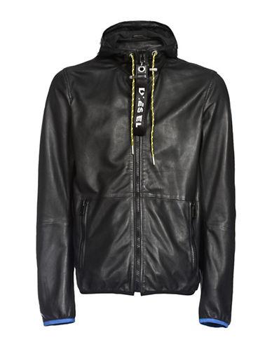 Diesel L-Wind Leather Jacket-BLACK-XXLarge