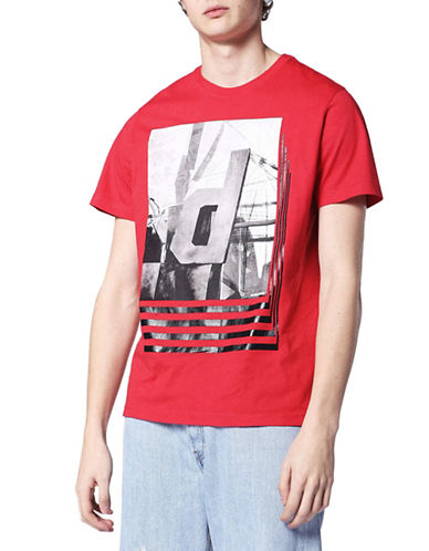Diesel Graphic Cotton Tee-RED-XLarge 89763383_RED_XLarge