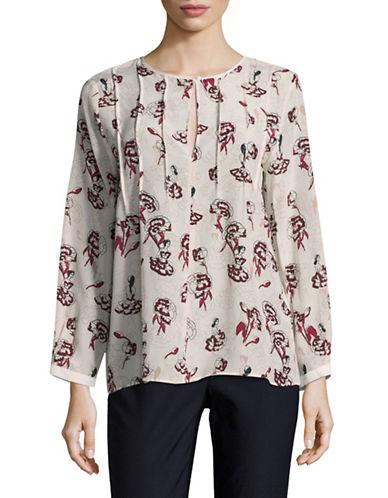 Marella Silk Floral Print Blouse-WHITE MULTI-12