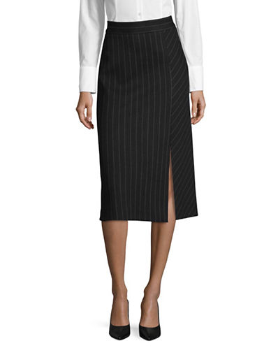 Marella Pinstriped A-Line Skirt-NAVY-8