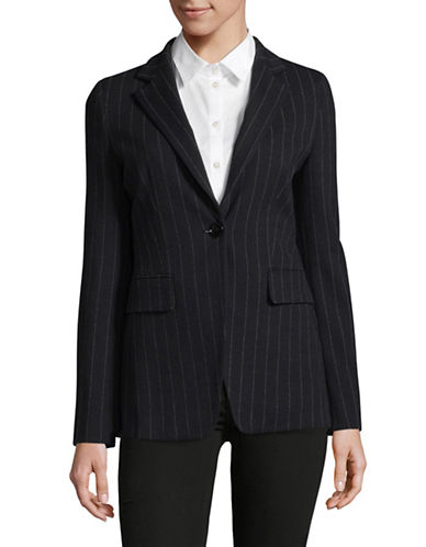 Marella Abbozzi Striped Jacket-NAVY-4